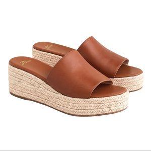 J.CREW Brown Wedge Heel Leather Slide Sandals